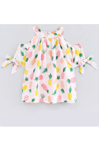Pink pineapple print cold shoulder top! Tops for kids, t shirts for baby girls, partywear tops for baby girls, pants for baby girls, designer tops and bottoms, designer peplum top, casual tops for baby girls