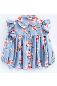 Blue full sleeves floral print top! Tops for kids, t shirts for baby girls, partywear tops for baby girls, pants for baby girls, designer tops and bottoms, designer peplum top, casual tops for baby girls
