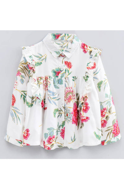 White floral print frill detailed top! Tops for kids, t shirts for baby girls, partywear tops for baby girls, pants for baby girls, designer tops and bottoms, designer peplum top, casual tops for baby girls