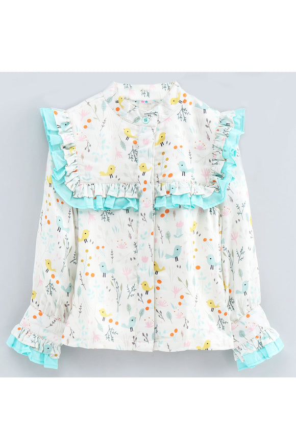 White bird and floral print contrast frill detailed top! Tops for kids, t shirts for baby girls, partywear tops for baby girls, pants for baby girls, designer tops and bottoms, designer peplum top, casual tops for baby girls