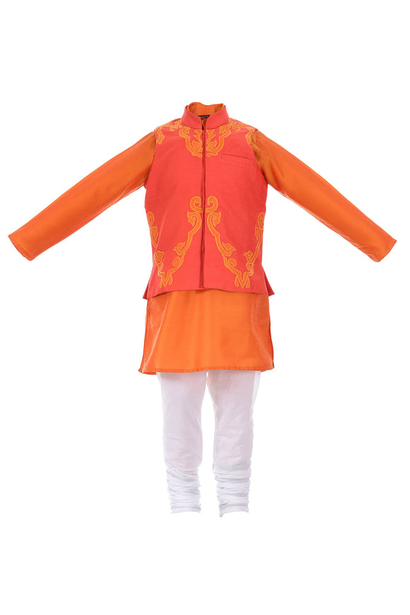 Orange kurta with inlay applique jacket and churidar
