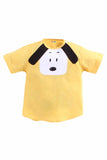 Yellow Dog Set Of Yellow Cotton Shirt With Blue Denim Shorts