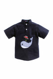 Happy Whale Set Of Navy Blue Shirt With Embedded And Stripe Cotton Pants