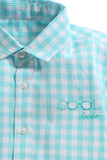 Summer Set Of Light Blue Check Shirt With White Shorts