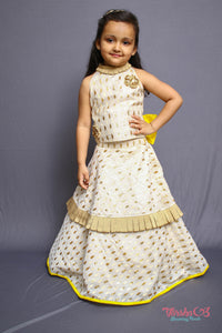 Double Layered Pleated Lehenga with haltered pleated neck crop top