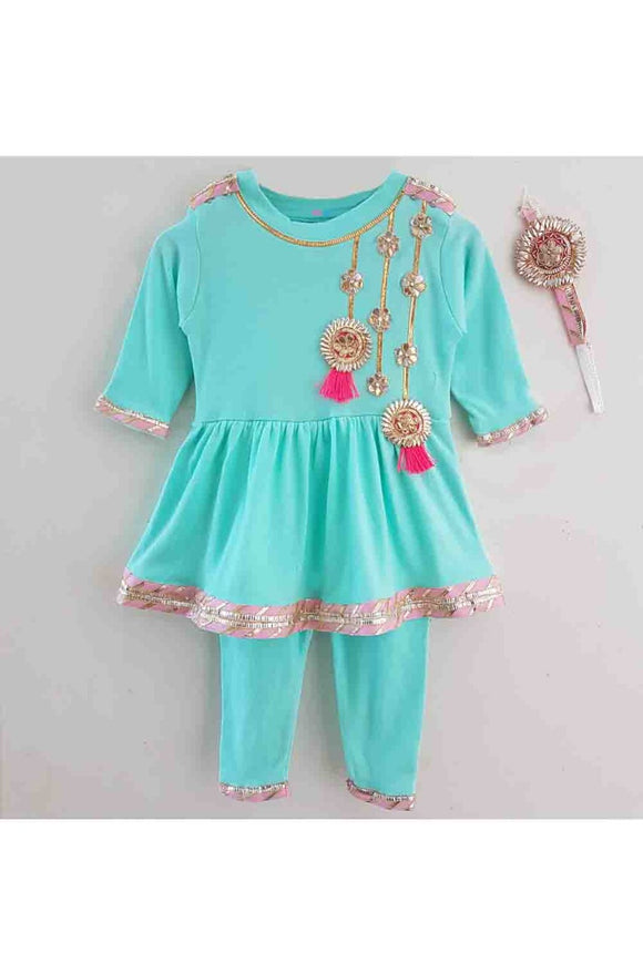 Sea green peplum gota work romper for baby girls