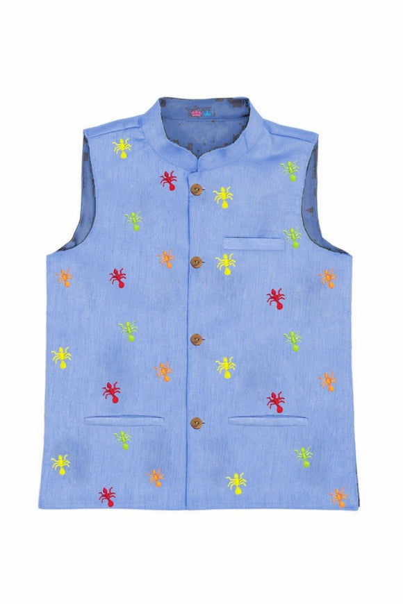 Ant embroidered nehru jacket! Nehru jackets for boys, designer nehru jackets, Waistcoats for boys, designer waistcoats