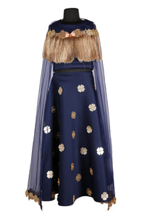 Navy Blue Tassel Crop Top with cape and Skirt