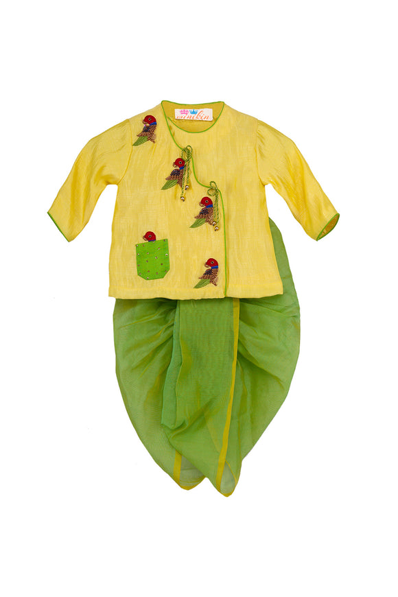 Yellow Parrot Angrakha With Green Chanderi Dhoti