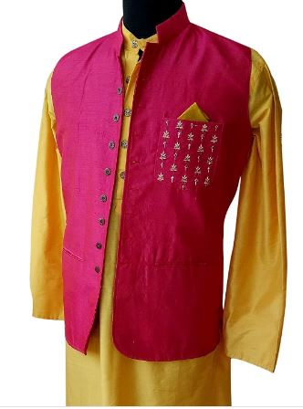 Katan silk kurta pyjama and embroidered nehru jacket