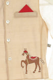 Organic royal horses embroidered jacket with kurta and churidar