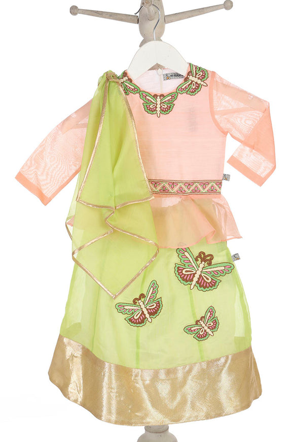 Organic light pink and green peplum top with lehenga