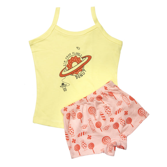 Girls candy crush vest and boxer set
