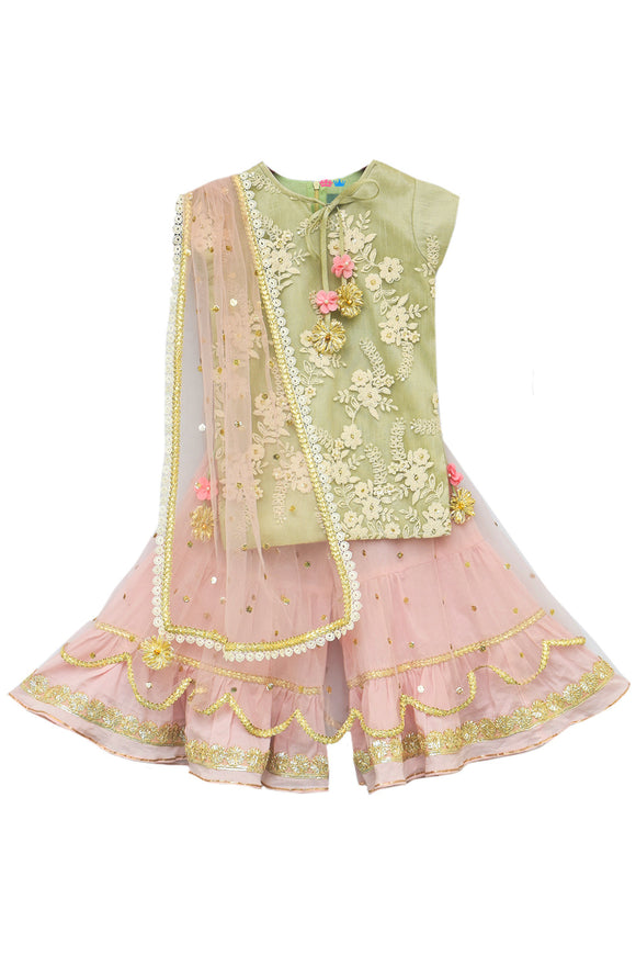 Pista Green Embroidery Kurti with Sharara