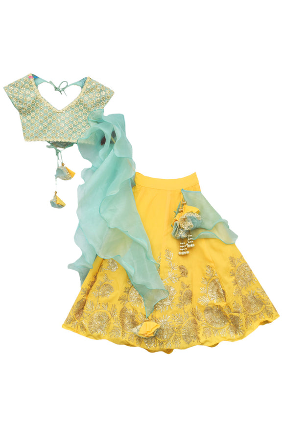 Aqua Thread Embroidery Choli with Yellow Gotta Lehenga