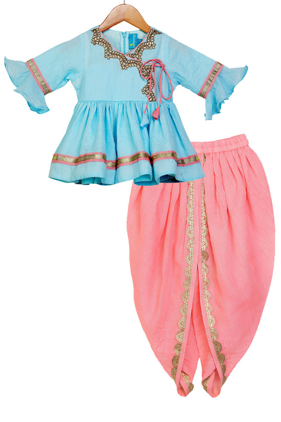 Arctic Blue Traditional Dhoti Set