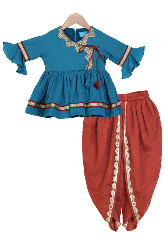 Turquoise Blue Traditional Dhoti Set