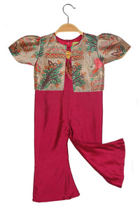 Red Jumpsuit with Multicolour Jacket