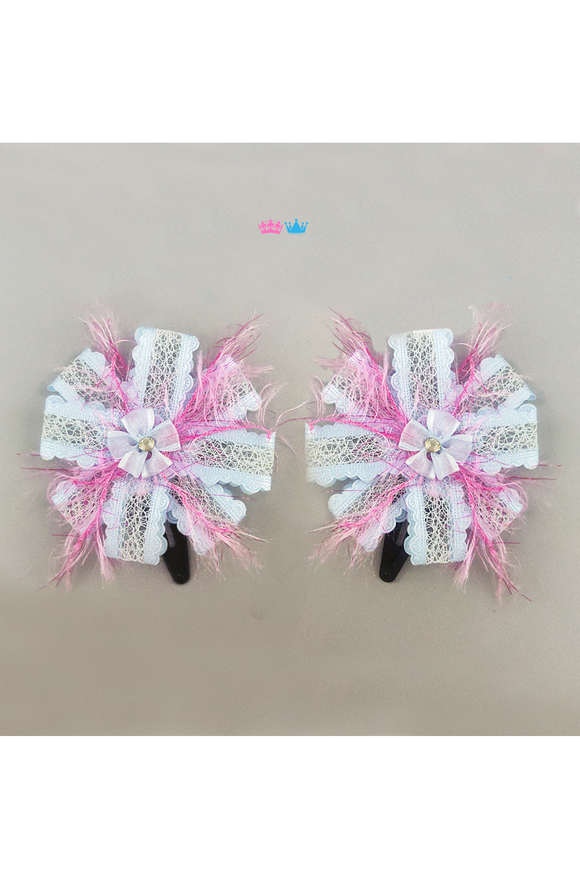 Feather and Ribbon Bow Hair Accesory