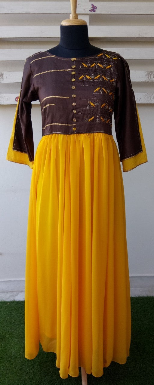 Brown/Mustard bird embroidery dress for Mother