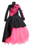 Black High Low Peplum Corset with Neon Pink Long Tutu Skirt