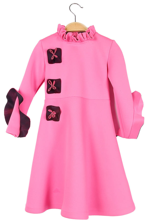 Pink and Black A line Dress
