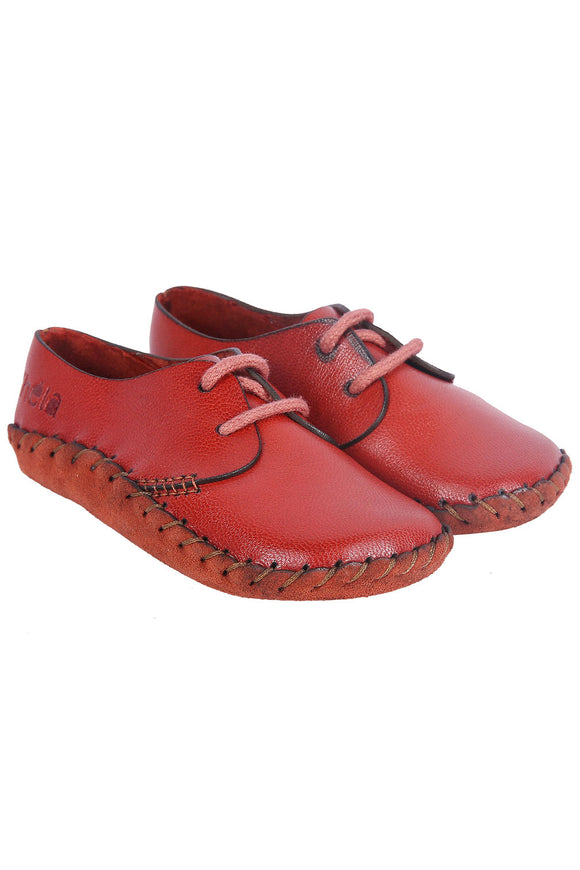Light Red Leather Tie-up Shoes
