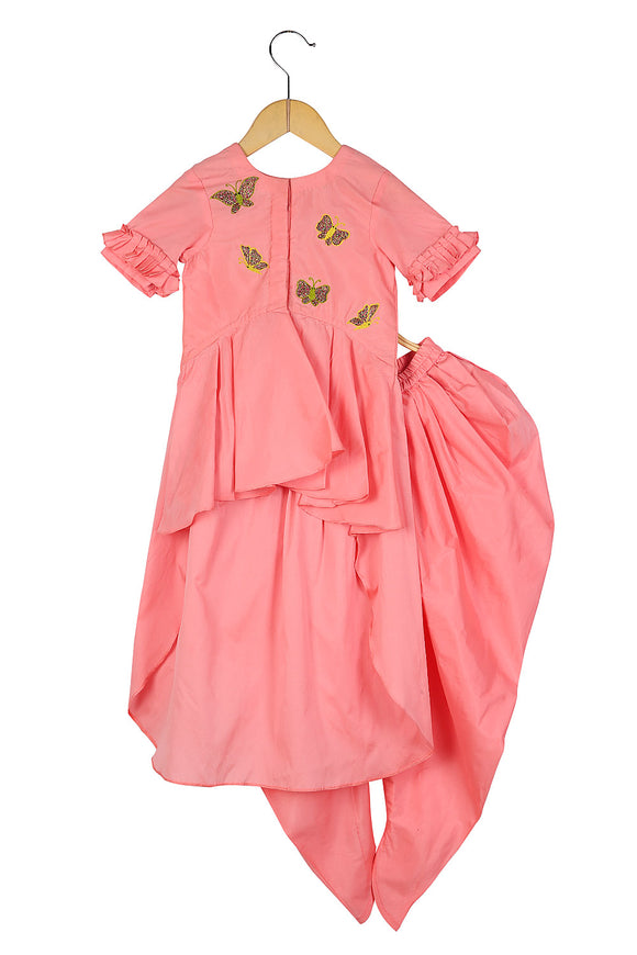 Butterfly High low Kurta with Dhoti