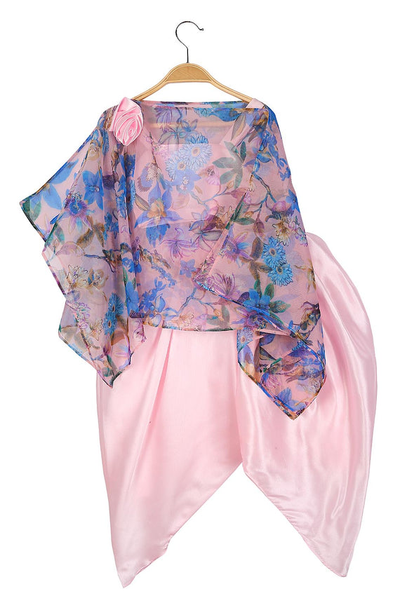 Printed cape with pink top and dhoti