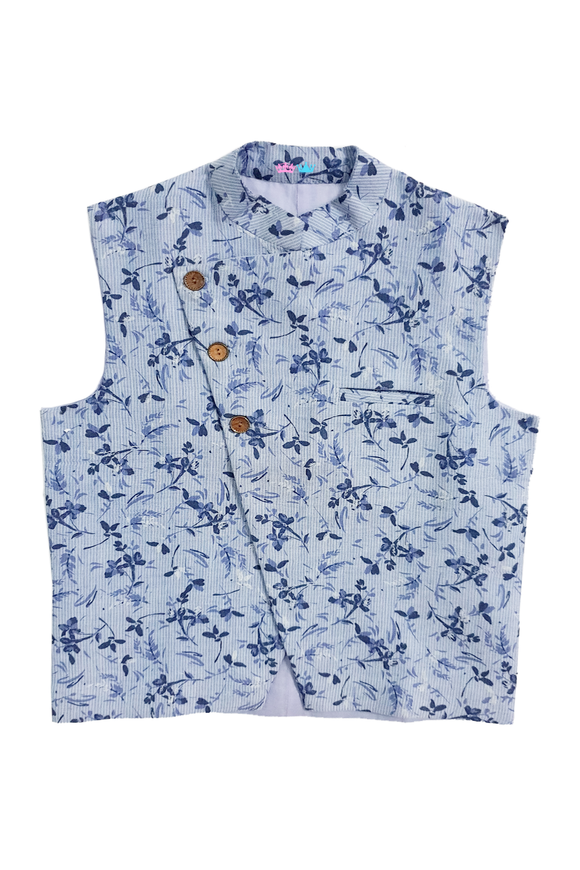 Blue printed nehru jacket for Father