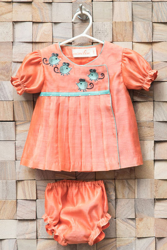 Peach mouse frock with aqua bloomers