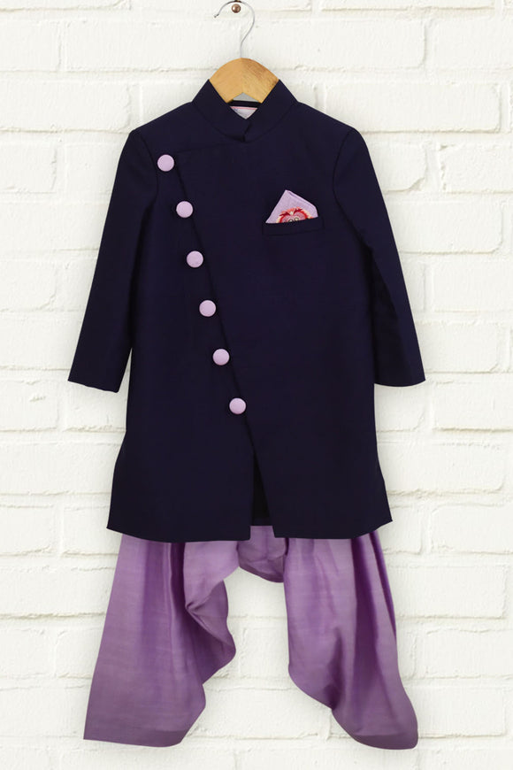 Navy Blue Bandhgala with Lavender Patiala
