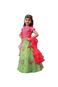 Rani Pink Top and Ghagra with Dupatta