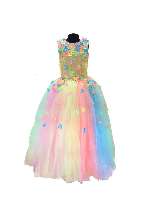 Shimmering pastel tutu gown with flowers
