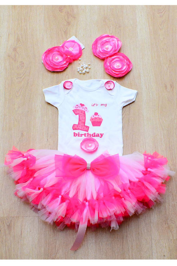 Pink Butterfly First Birthday Tutu Outfit