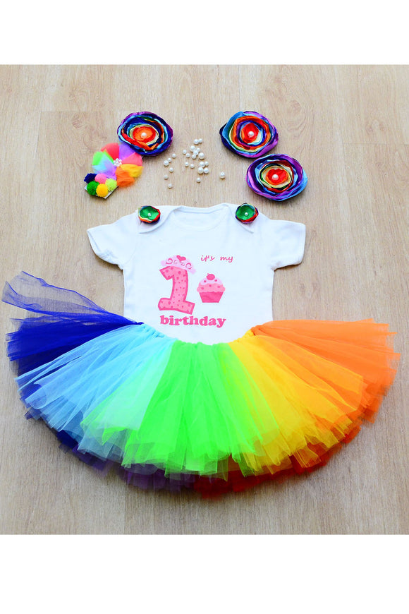 Rainbow First Birthday Tutu Outfit