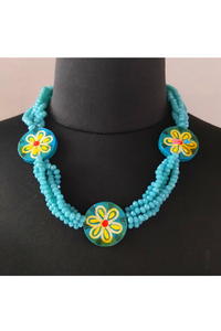 Turquoise floral motiff necklace