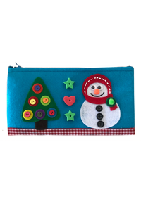 Christmas tree and snowman pencil pouch
