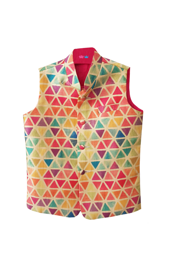 Triangle Print Nehru Jacket