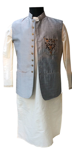 Grey/off-white embroidered Nehru jacket and kurta for Father