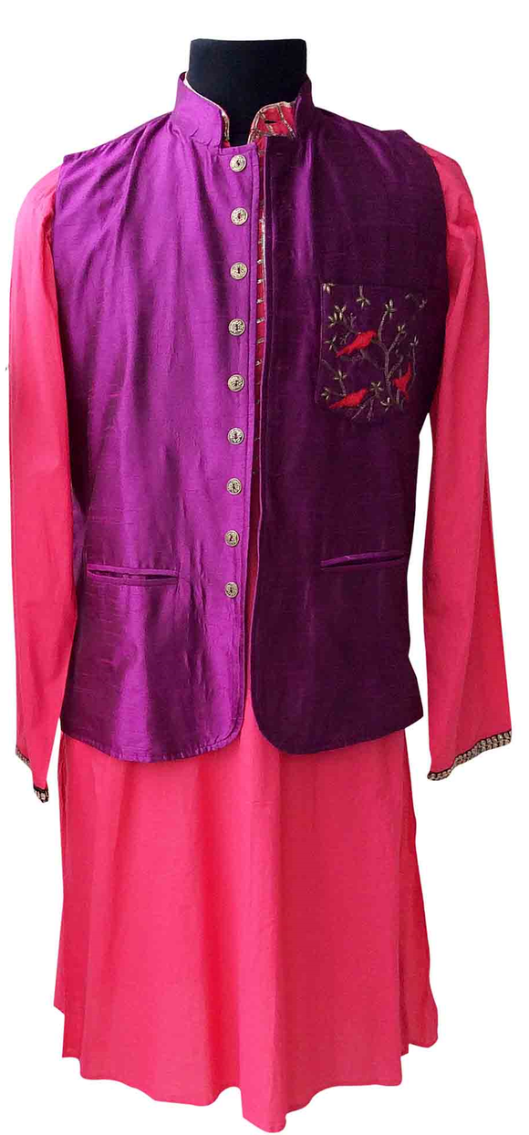 Purple /peach/Nehru jacket and kurta for Father