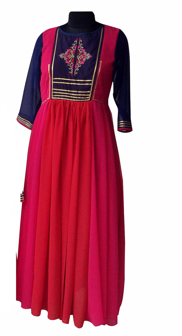 Red/pink embroidered dress for Mother