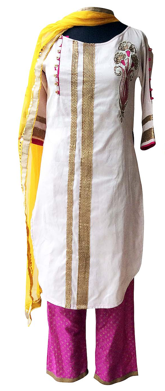 Yellow raw silk/Off-white kurta for Mother