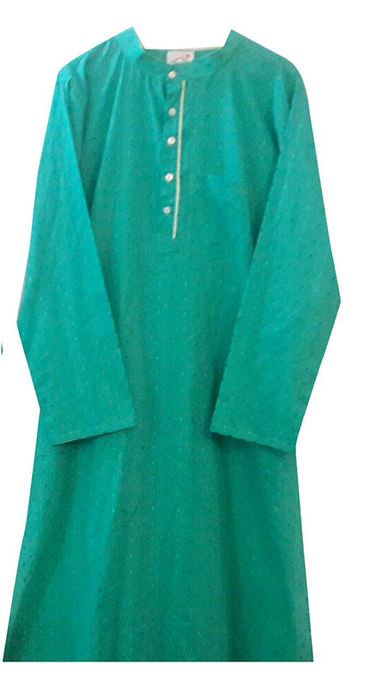 Turquoise/lime yellow kurta for Father