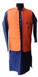 Orange/blue raw silk embroidered Nehru jacket and kurta for Father