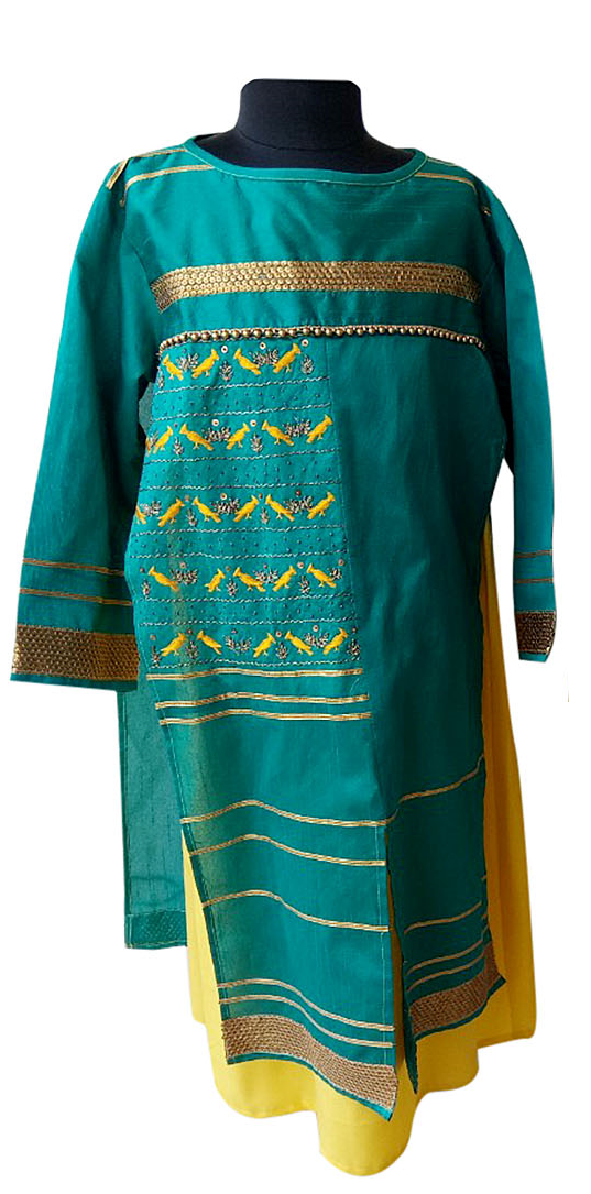 Green/yellow bird embroidered Festive wear for Mother