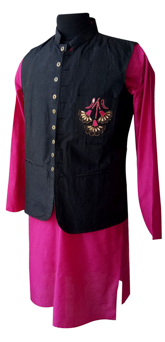 Black raw silk/pink embroidered Nehru jacket and kurta for Father
