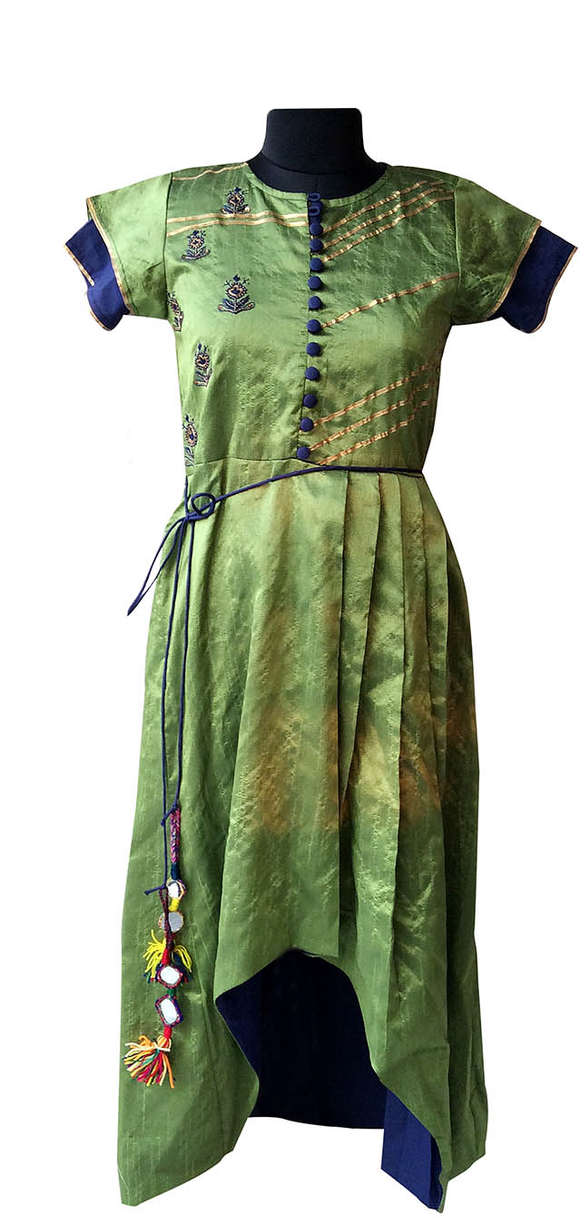 Olive green/blue embroidered dress for Mother