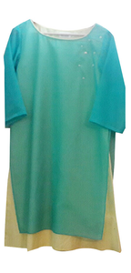 Turquoise/lime yellow kurta for Mother