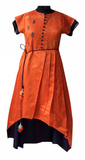 Orange/blue raw silk embroidered Dress for Mother